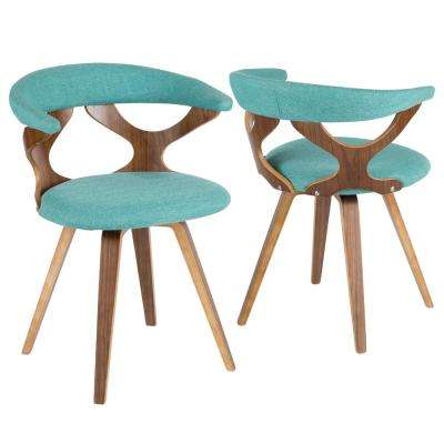 Gardenia Walnut and Teal Swivel Accent and  Dining Chair