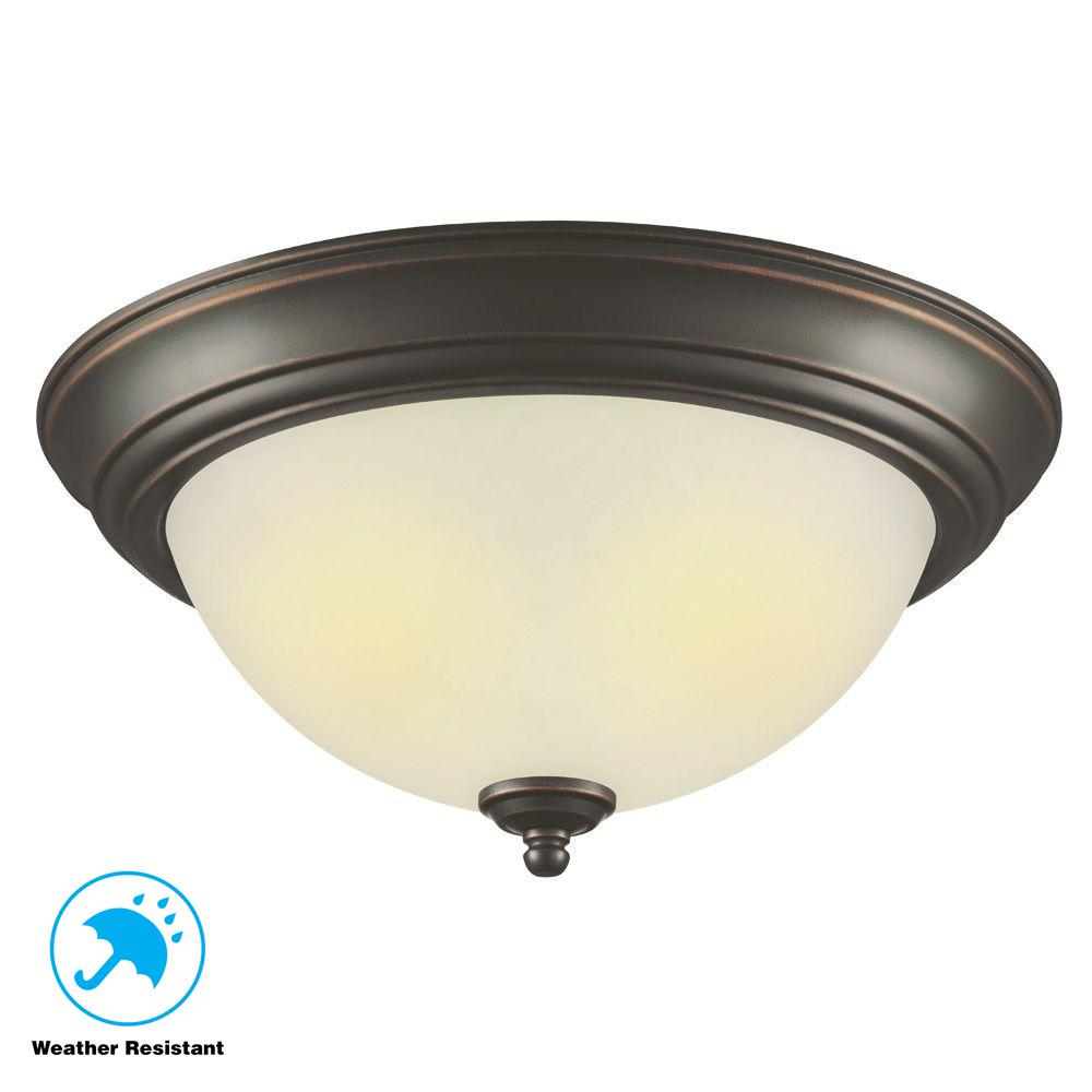 Hampton Bay Ceiling Light Fixtures: Hampton Bay 2-Light Outdoor Oil-Rubbed Bronze Flushmount