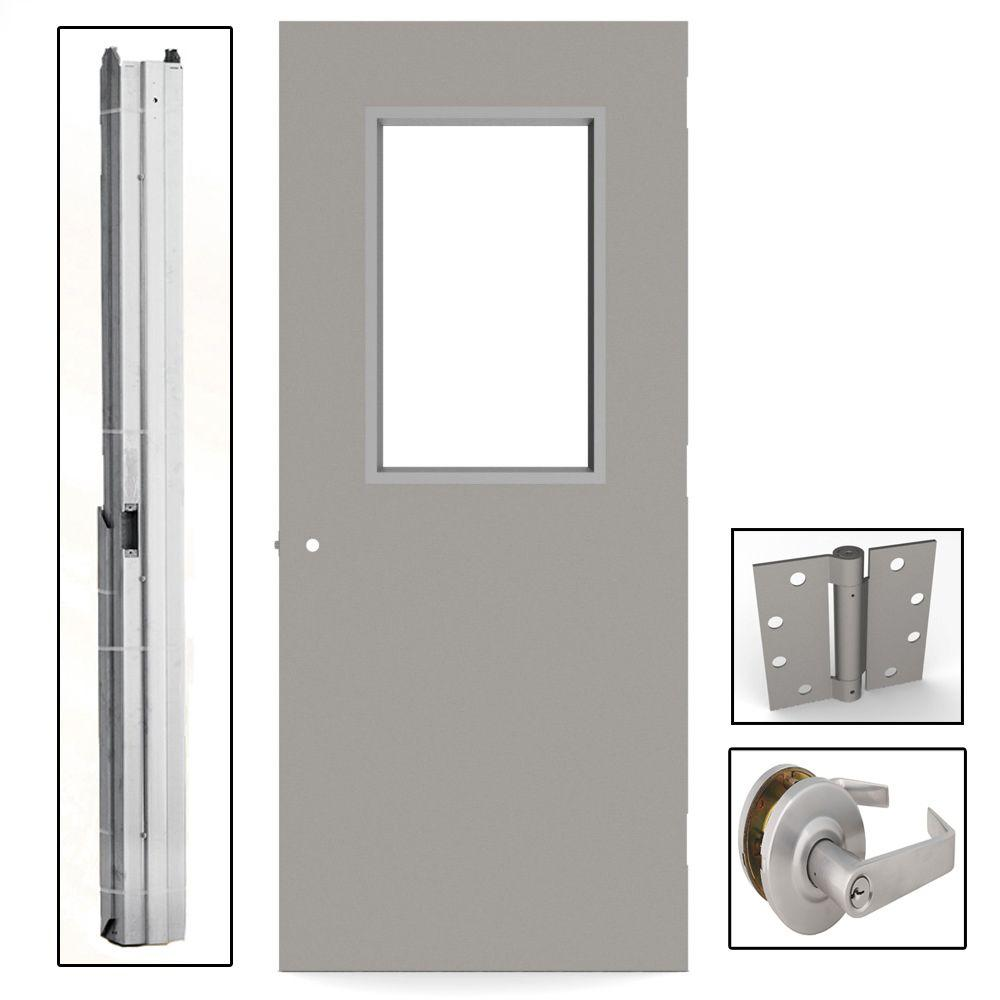 L i f industries 36 in x 80 in gray flush steel vision for Commercial entry doors