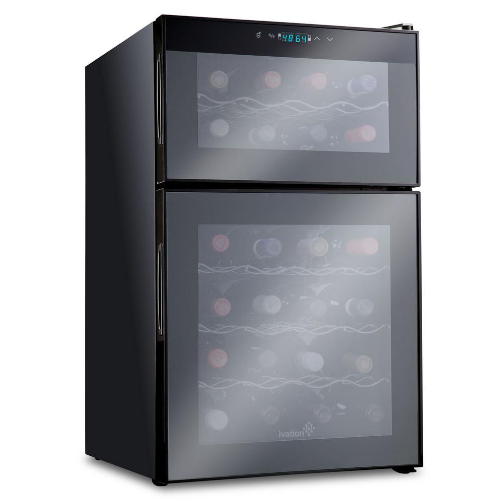 Ivation 24 Bottle Dual Zone Thermoelectric Freestanding Wine Cooler Fridge Cellar Refrigerator - Black