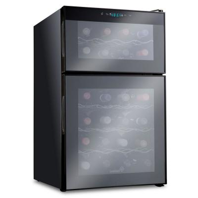 24 Bottle Dual Zone Thermoelectric Freestanding Wine Cooler Fridge Cellar Refrigerator - Black