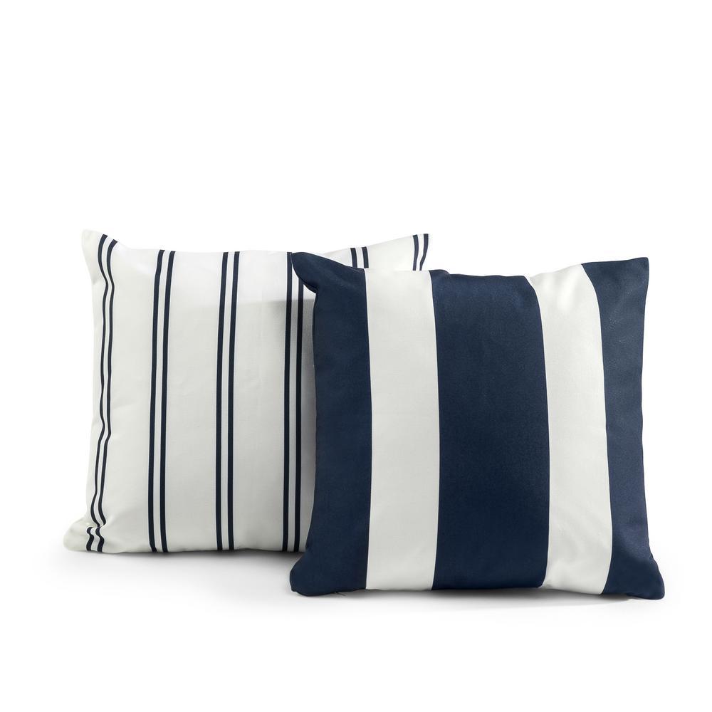 Tecoria Navy Mixed Stripe Outdoor Square Throw Pillow Set