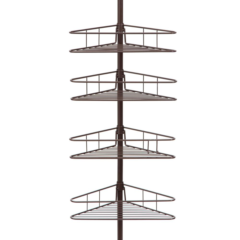 Oil Rubbed Bronze 4-Tier Triangle Basket Tension Pole Shower Caddy