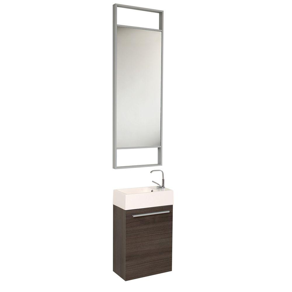 Fresca Pulito 16 in. Vanity in Gray Oak with Acrylic Vanity Top in White with White Basin and Mirror