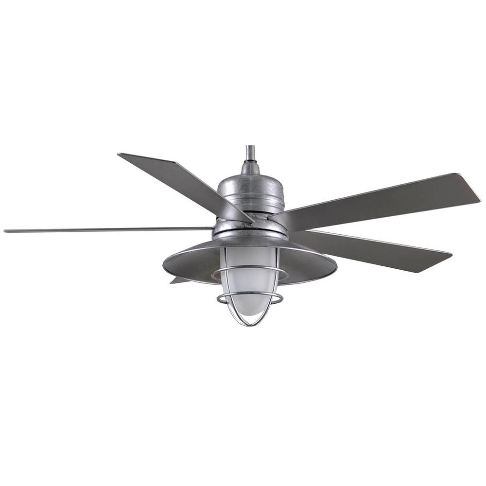 Home Decorators Collection Grayton 54 In Indoor Outdoor Galvanized Ceiling Fan With Light Kit