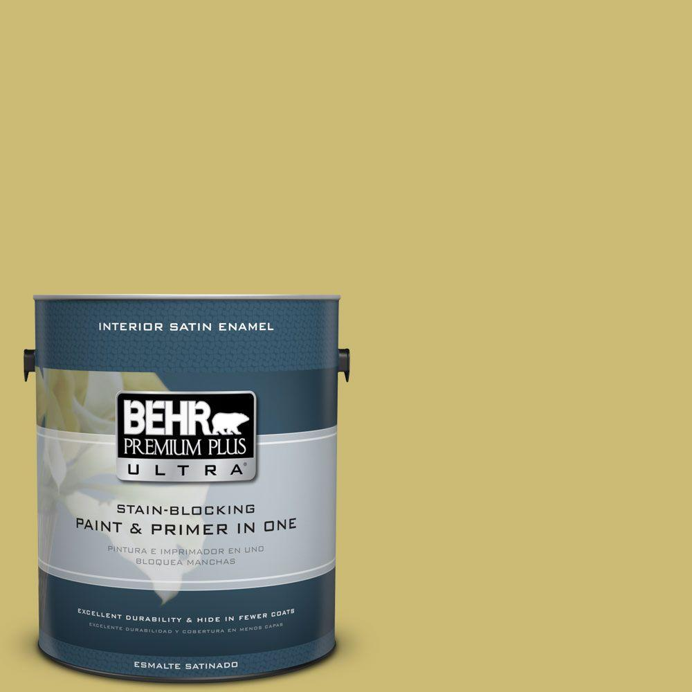 1 gal. #HDC-SP16-02 Pistachio Shortbread Satin Enamel Interior Paint