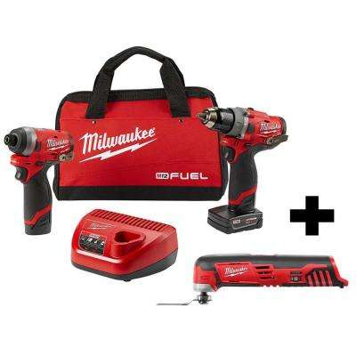 M12 FUEL 12-Volt Li-Ion Brushless Cordless Hammer Drill and Impact Driver Combo Kit (2-Tool)w/ Free M12 Multi-Tool