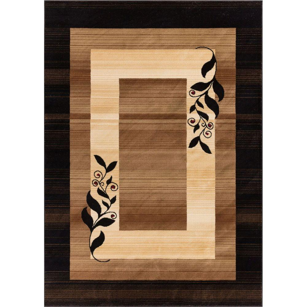 Well Woven Barclay Molly Gold 5 ft. 3 in. x 7 ft. 3 in. Modern Border Leaves Area Rug