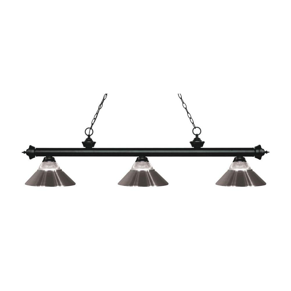 Annika 3-Light Matte Black Island Light with Clear Ribbed Glass and
