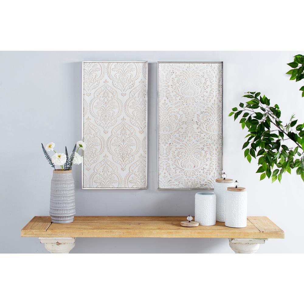 Large Rectangular Distressed White Damask Patterns Wood Wall Art Set Of 2