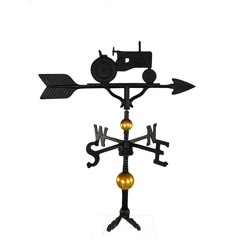 Montague Metal Products 32 in. Deluxe Black Tractor Weathervane Montague Metal Products hand crafted weathervanes are of the highest quality. These fully functional weathervanes are cast of rust free aluminum and finished with weather resistant paint to insure a lifetime of enjoyment. The standard adjustable clutch base makes installation quite easy. Flat bases and threaded masts are also available as an additional option.