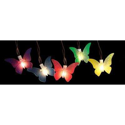 10-Light Multi-Color Battery Operated Butterfly Garden Patio Umbrella LED Lights with Timer (10-Pack)