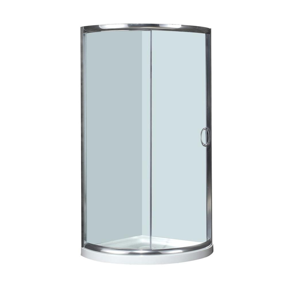 36 in. x 36 in. x 77-1/2 in. Semi-Frameless Neo-Round Shower