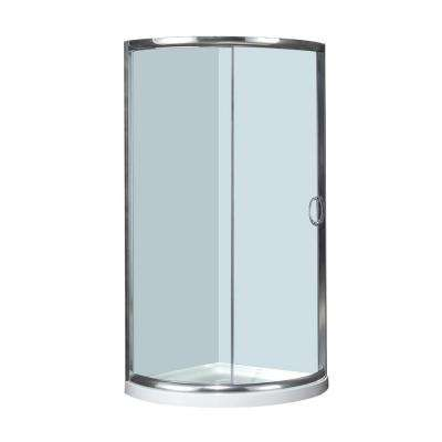 36 in. x 36 in. x 77-1/2 in. Semi-Frameless Neo-Round Shower Enclosure in Chrome with Base Clear Glass