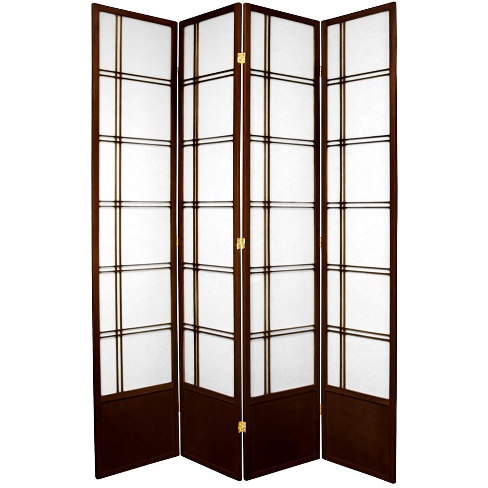 7 ft. Walnut 4-Panel Room Divider