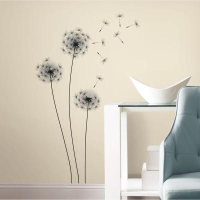 19 in. Black Whimsical Dandelion Peel and Stick Giant Wall Decals
