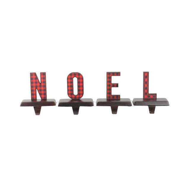 6 in. Red and Black Buffalo Plaid Noel Christmas Stocking Holders (Set of 4)