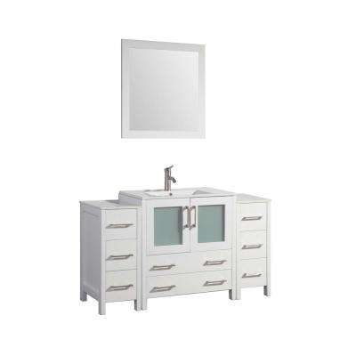 Brescia 54 in. W x 18 in. D x 36 in. H Bathroom Vanity in White with Vanity Top in White with White Basin and Mirror