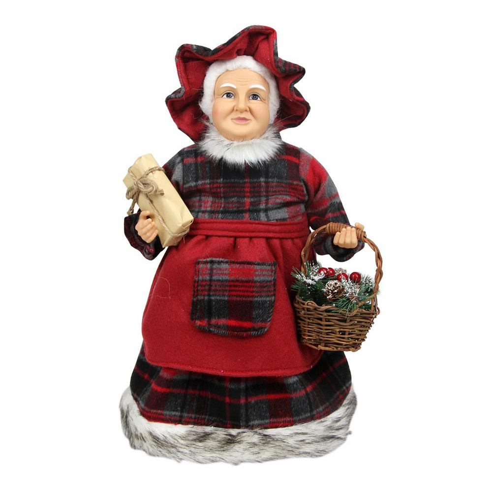 Northlight 16 in. Country Rustic Mrs. Claus in Red Checkered Dress Holding a Basket and Gift Christmas Figure