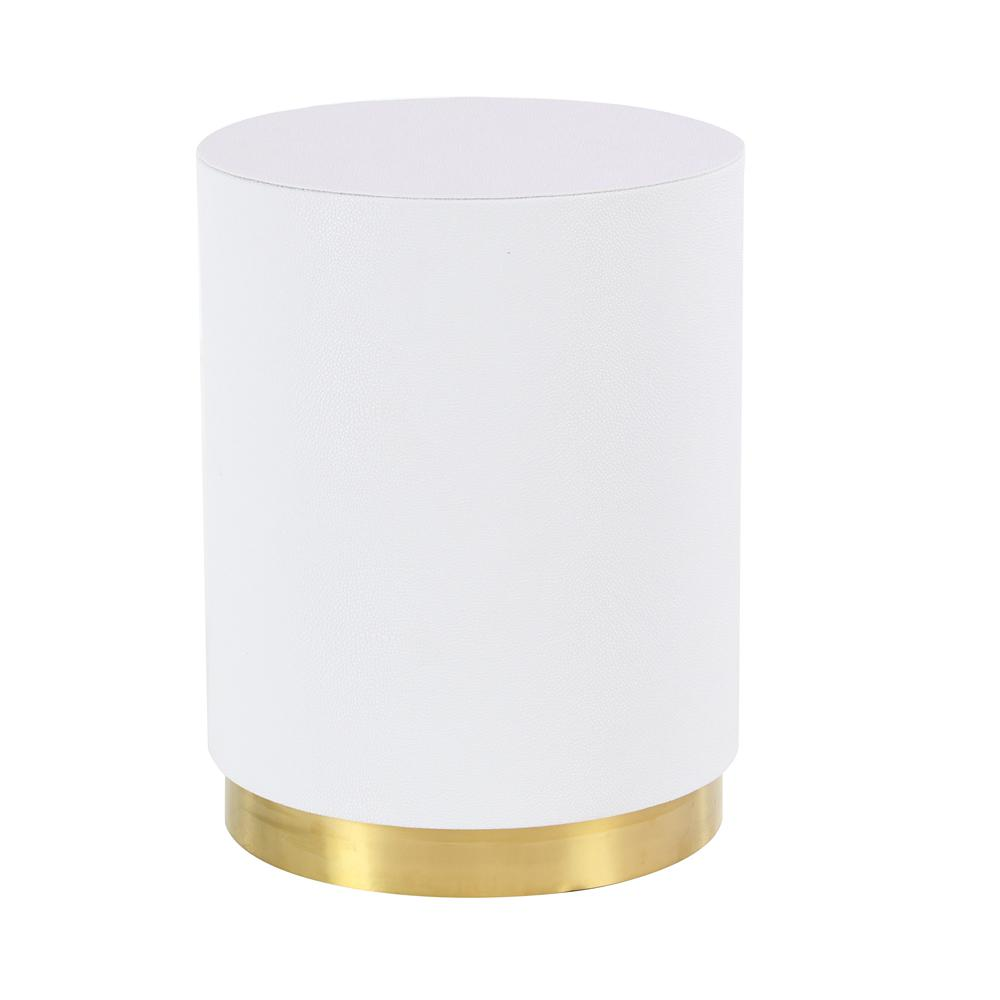 Litton Lane White Round Accent Table With Gold Base