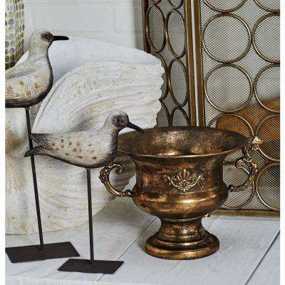 Tarnished Brass Iron Scrolled Goblet Urn Planter