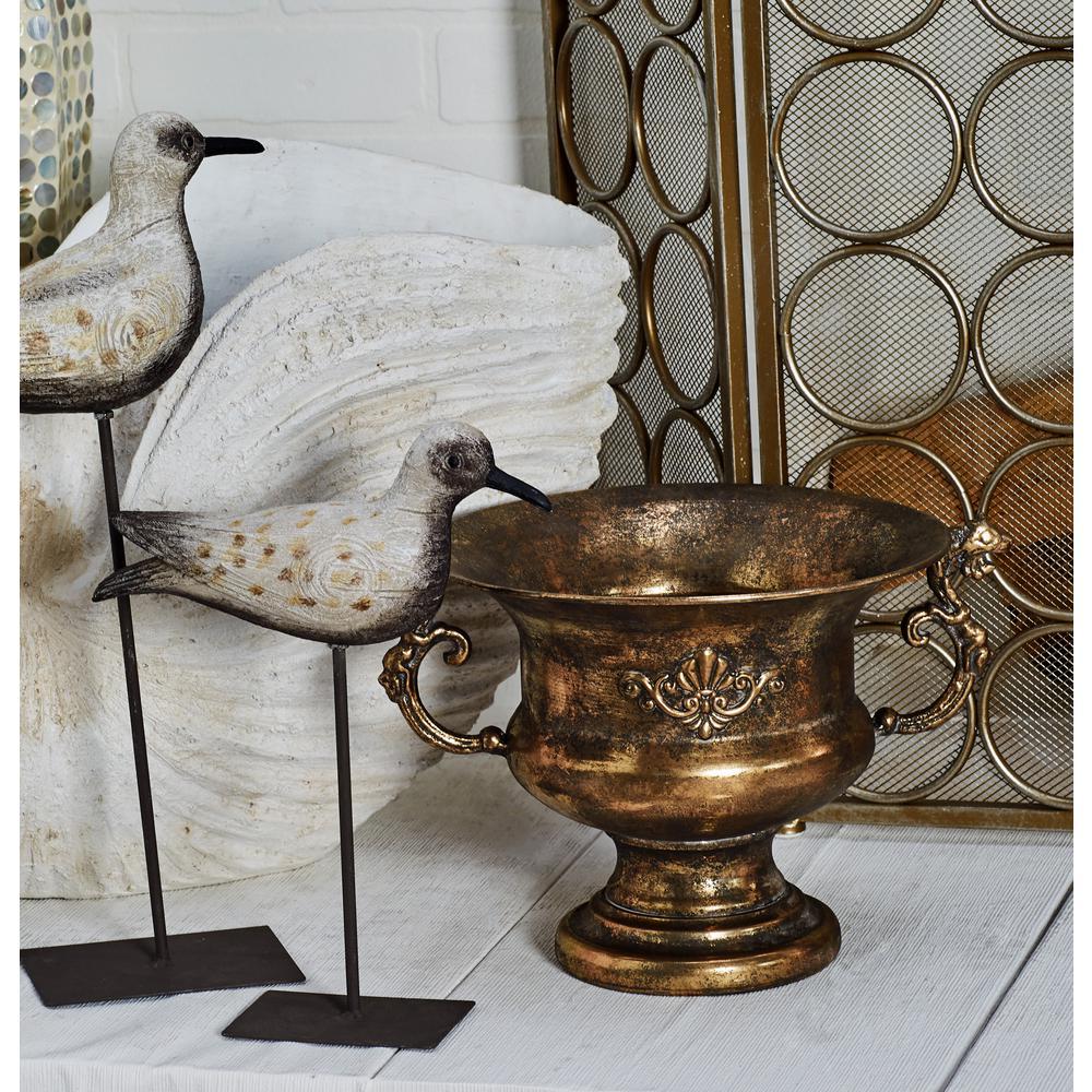 Litton Lane Tarnished Brass Iron Scrolled Goblet Urn Planter 29552