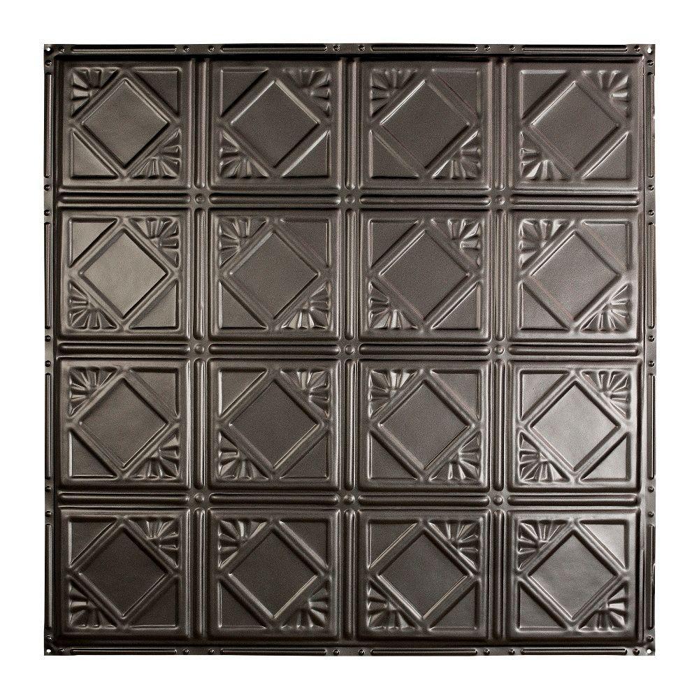 Great Lakes Tin Ludington 2 ft. x 2 ft. Nail-up Tin Ceiling Tile in Argento
