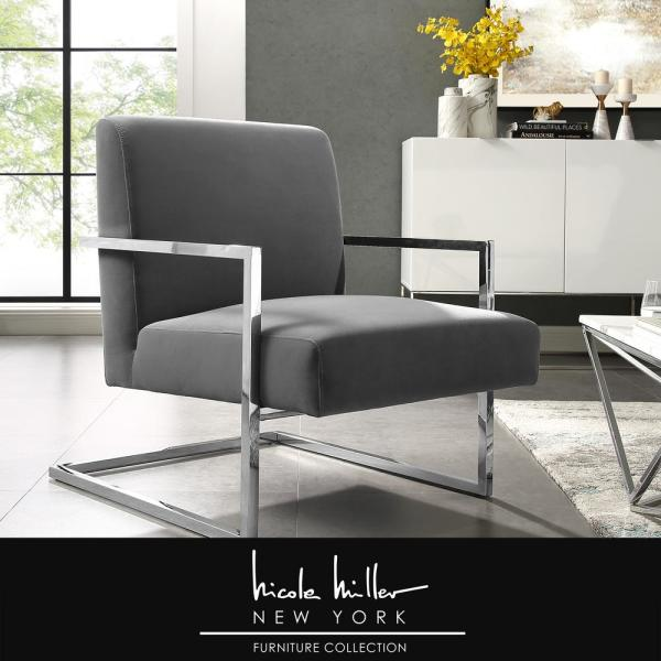 Nicole Miller Konnor Grey/Chrome Velvet Accent Chair with Square Arm
