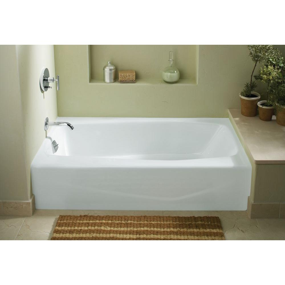 Kohler Villager 5 Ft Left Hand Drain Integral Farmhouse A Cast Iron Bathtub In White