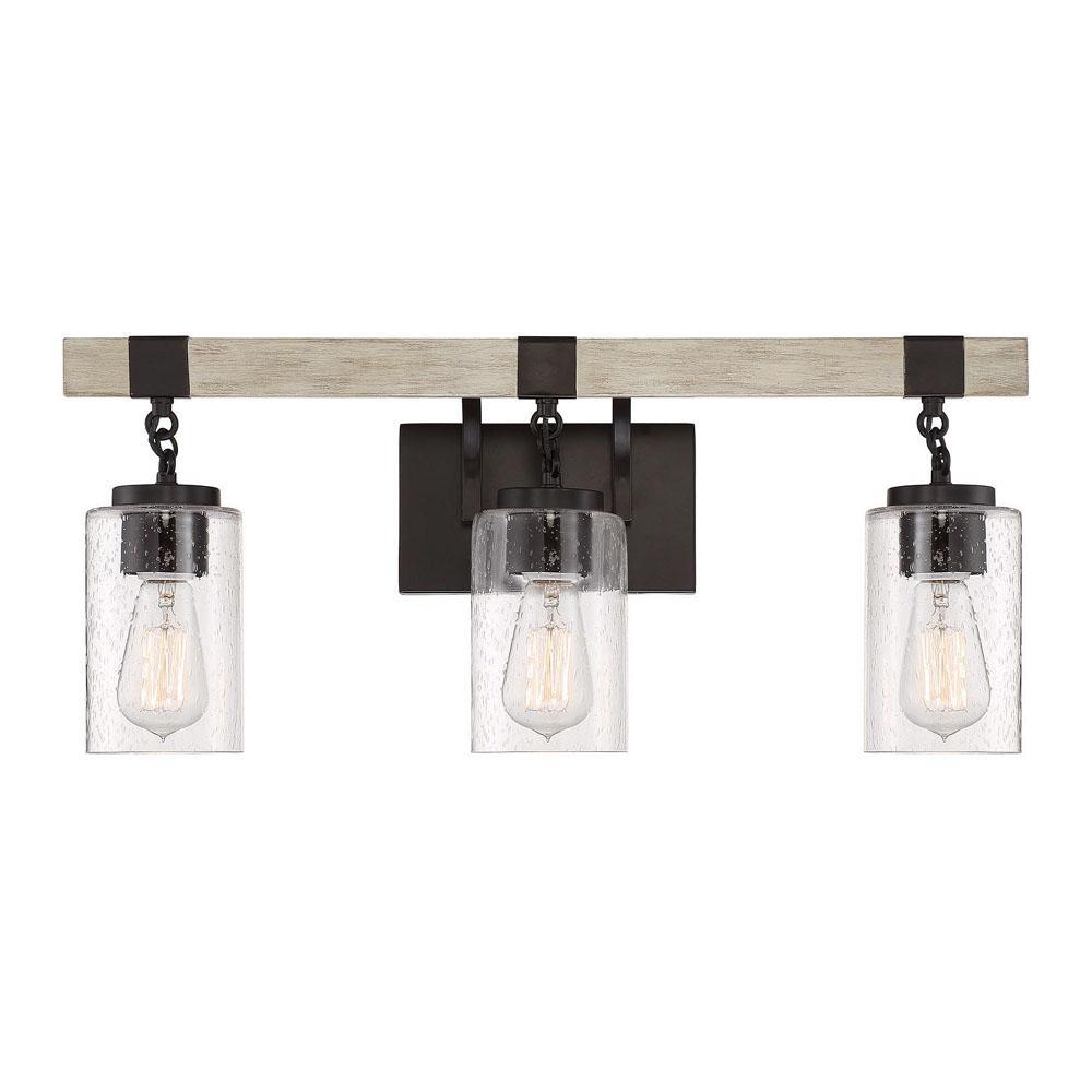 Cordelia Lighting 24.5 in. 3-Light Bronze Vanity Light with - Sale: $69.97 USD (30% off)