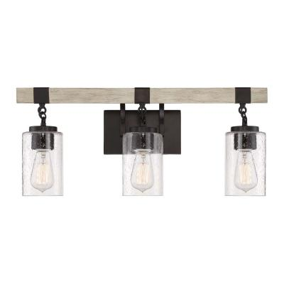 24.5 in. 3-Light Bronze Vanity Light with Clear Seedy Glass Shades