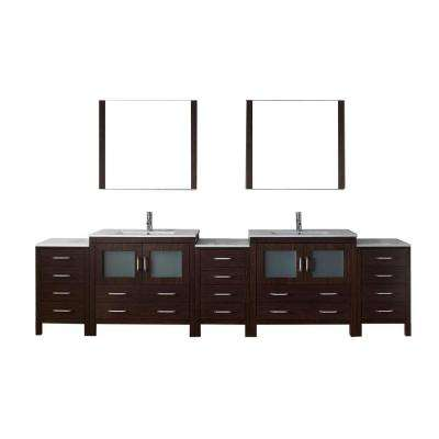 Dior 118 in. W x 18.3 in. D Vanity in Espresso with Ceramic Vanity Top in White with White Basin and Mirror