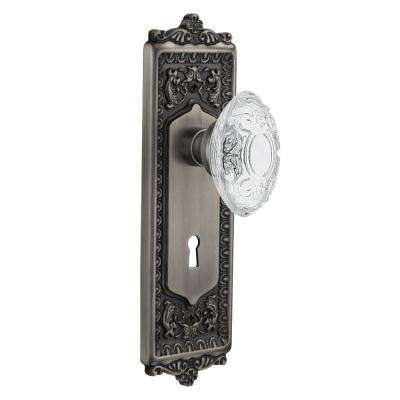 Egg and Dart Plate Interior Mortise Crystal Victorian Door Knob in Antique Pewter