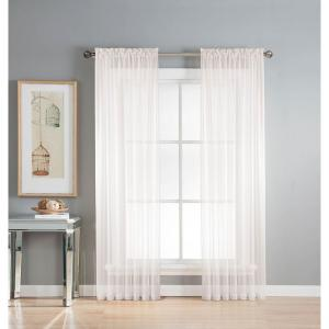 Window Elements Sheer Diamond Sheer Voile Extra Wide 84 inch L Rod Pocket Curtain Panel Pair, White (Set of 2) by Window Elements