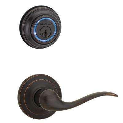 Kevo Venetian Bronze Single Cylinder Bluetooth Enabled Deadbolt and Tustin Passage Lever