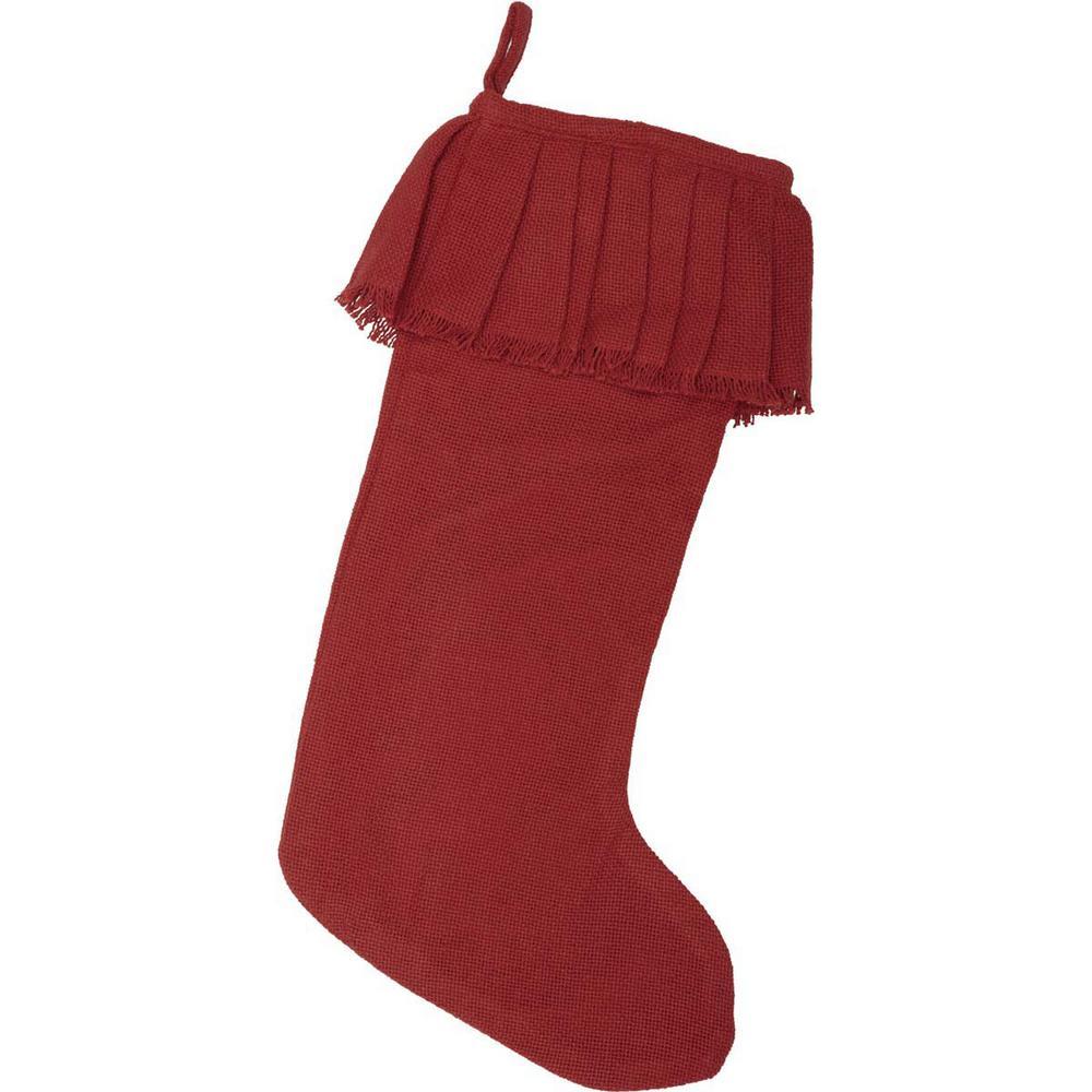 20 in. Cotton Red Festive Burlap Farmhouse Christmas Decor Ruffled Stocking