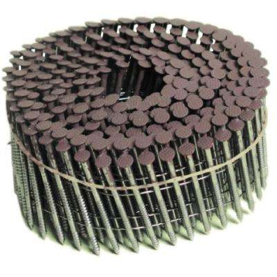 8d 2-1/2 in. 15 Wire Coil, Painted Full Round Head, Ring-Shank Nail in Tan (3,600-Pack)