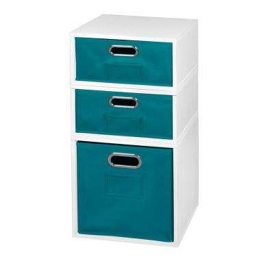 Cubo 13 in. x 26 in. White 1 Full-Cube and 2 Half-Cube Organizer with Teal Foldable Storage Bins