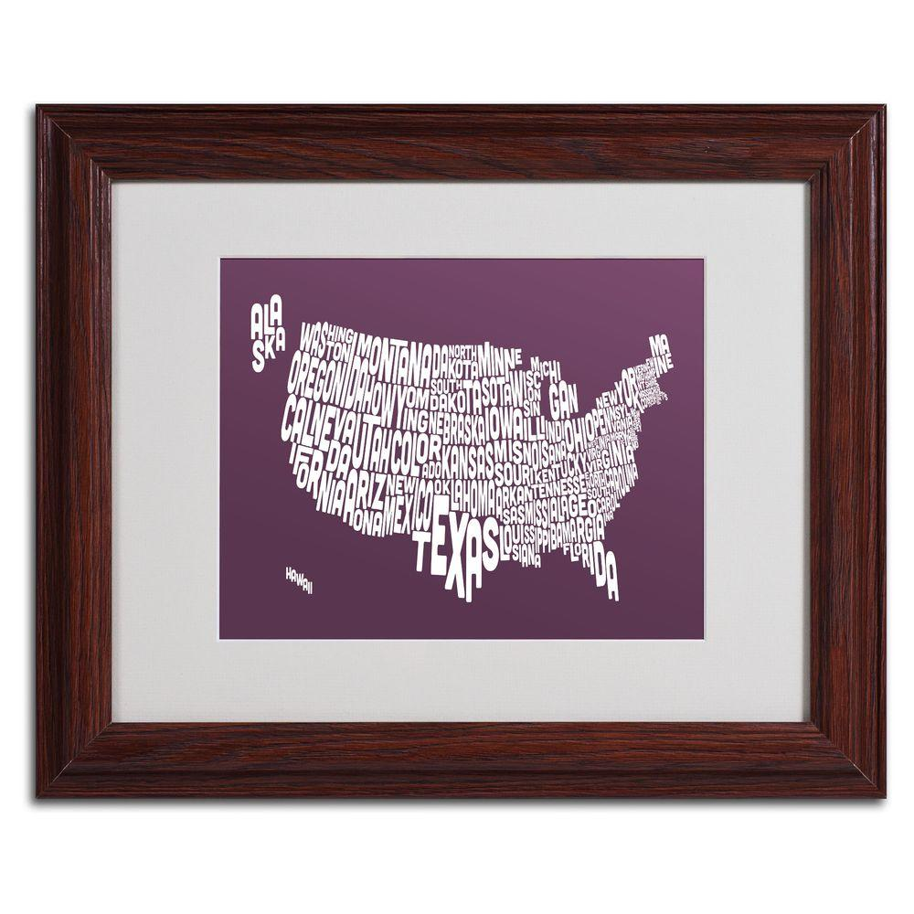 11 in. x 14 in. USA States Text Map - Mulberry