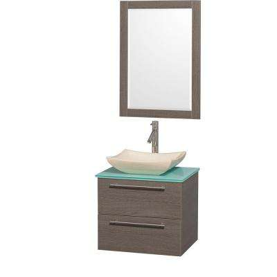 Amare 24 in. Vanity in Grey Oak with Glass Vanity Top in Aqua and Ivory Marble Sink