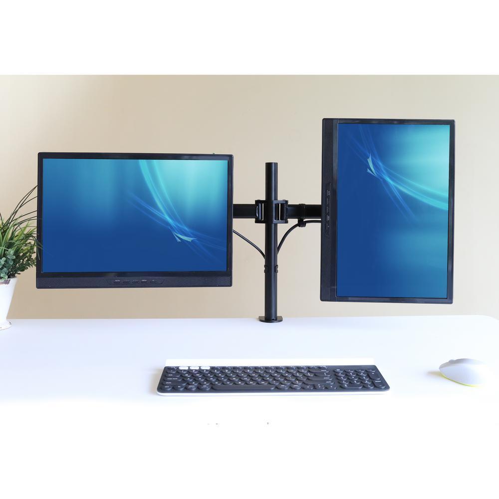 Black Dual Adjustable Desk Mount Monitor Arm