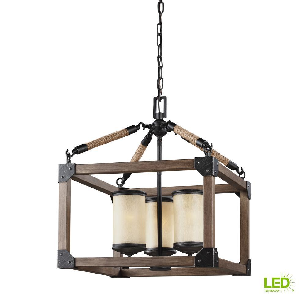 Dunning 16.5 in. W. 3-Light Weathered Gray and Distressed Oak Single