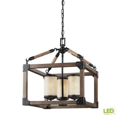 Dunning 16.5 in. W. 3-Light Weathered Gray and Distressed Oak Single Tier Chandelier with LED Bulbs