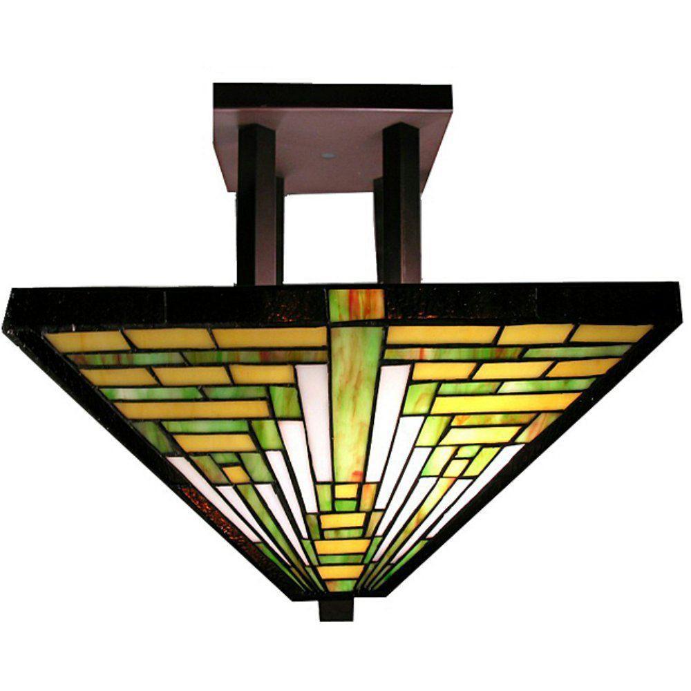 2-Light Bronze Frank Lloyd Multicolored Semi Flush Mount