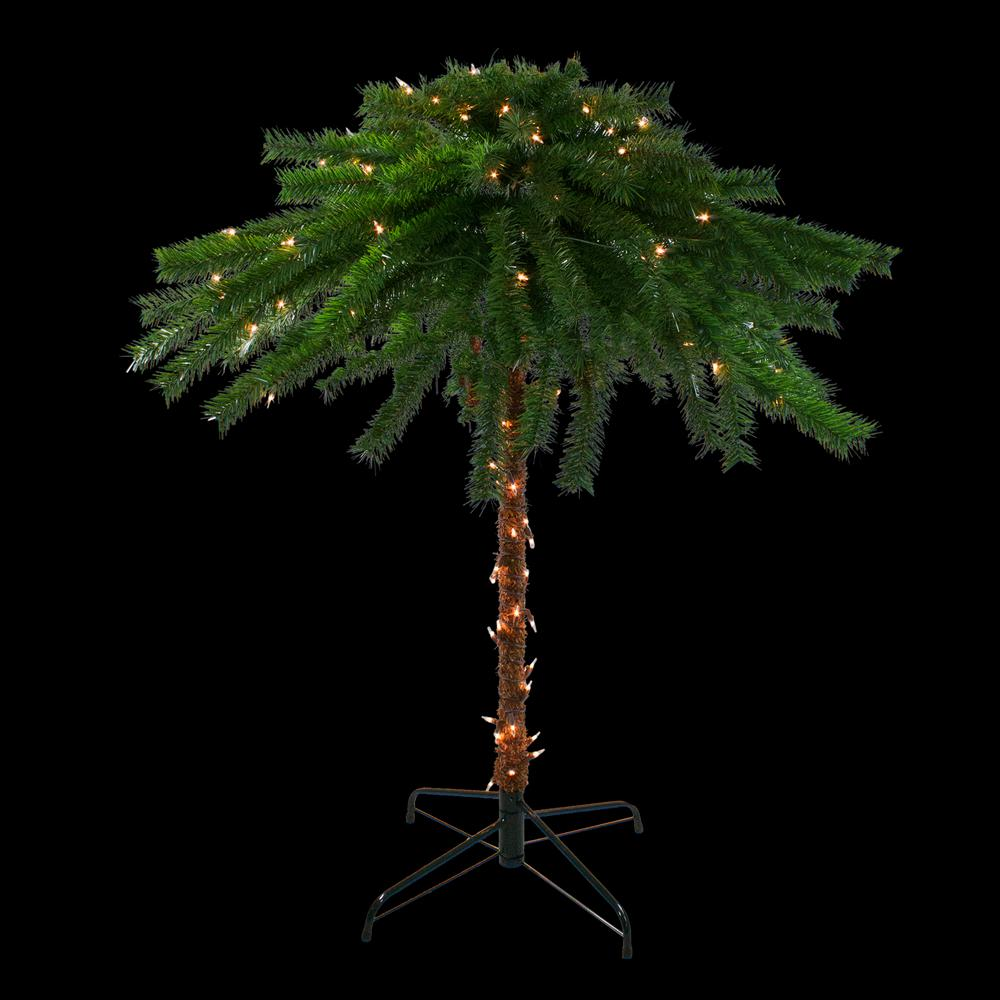 Northlight 4 ft. Pre-Lit Clear Lights Artificial Tropical Outdoor Patio Palm Tree
