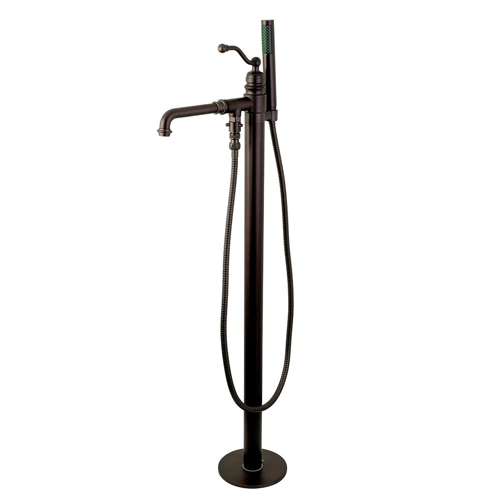 Country Single-Handle Floor Mount Bath Filler with Hand Shower in Oil
