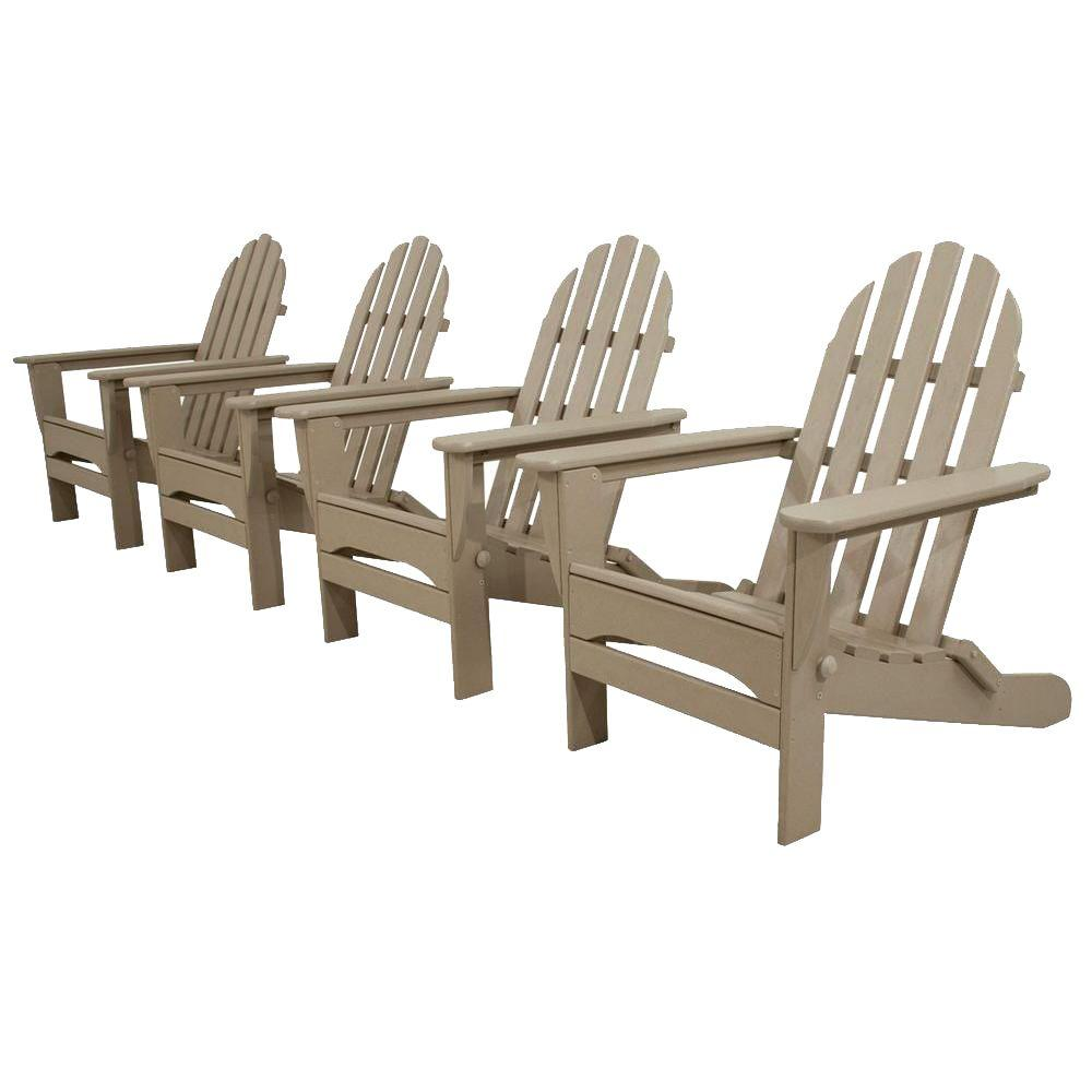 Classics Sand 4-Piece Folding Adirondack Patio Conversation Set