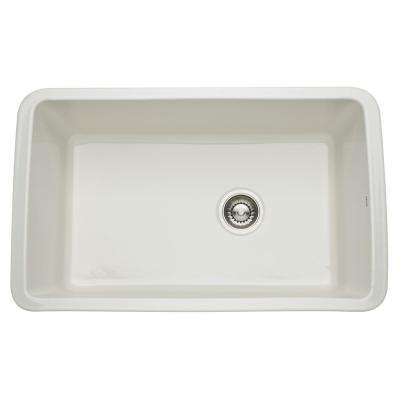 Allia Undermount Fireclay 31 in. Single Bowl Kitchen Sink in Biscuit