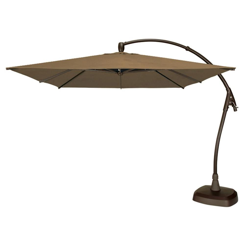 Swim Time Seabrooke 10 sq. ft. Cantilever Patio Umbrella with Base in Champagne O'Bravia-DISCONTINUED