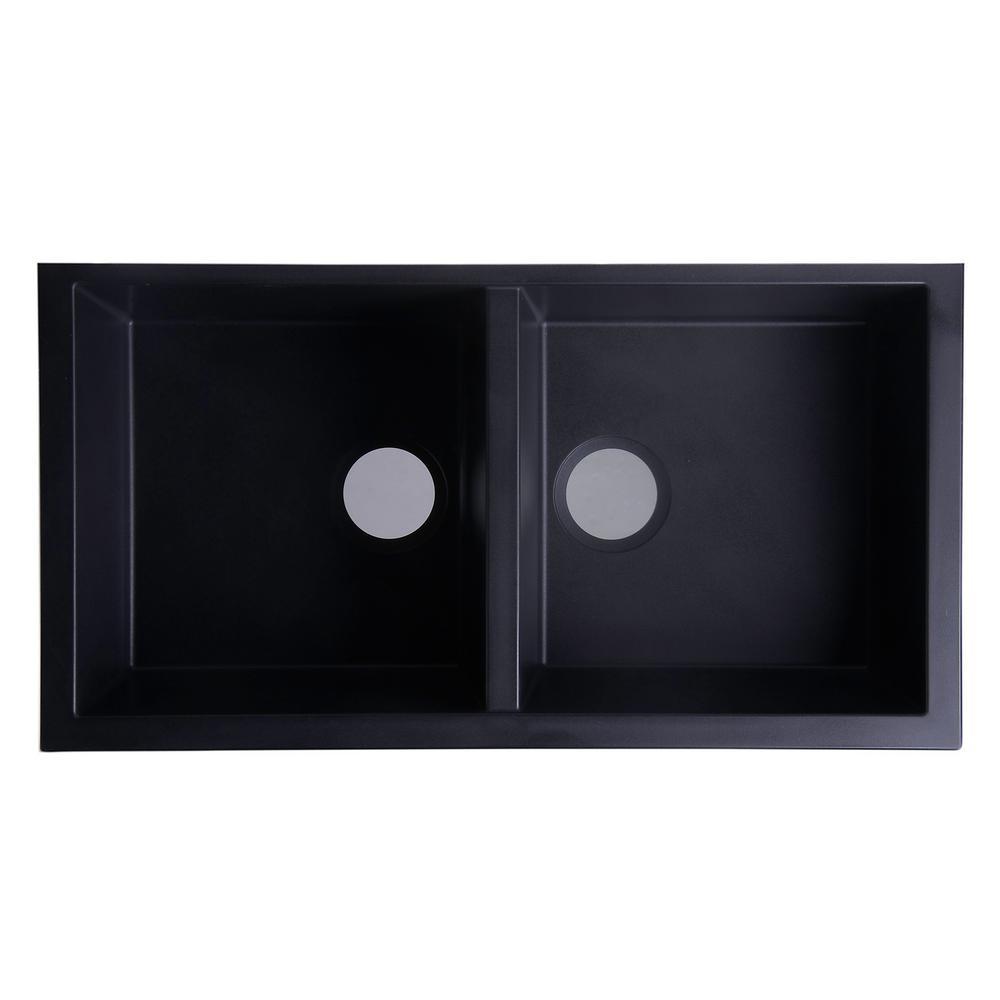 Undermount Granite Composite 33.88 in. 50/50 Double Bowl Kitchen Sink in Black